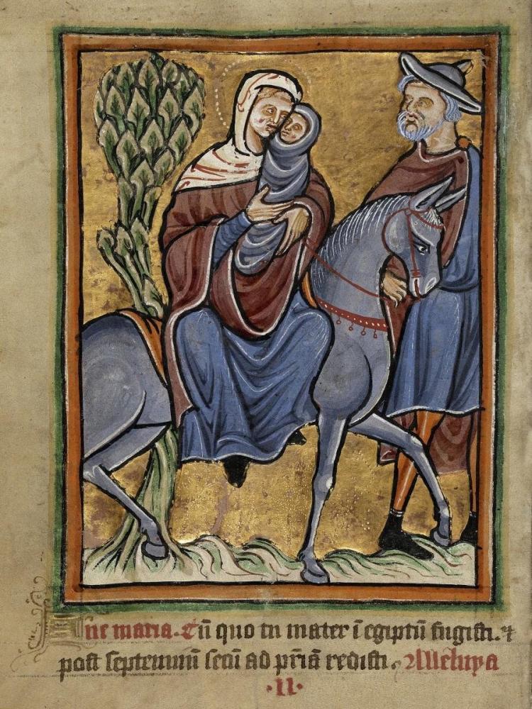 UNKNOWN 12TH CENTURY ENGLISH ILLUMINATOR - THE FLIGHT INTO EGYPT