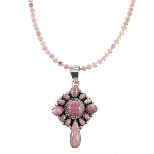 Navajo Sterling Silver Rhodochrosite Bead Necklace Set