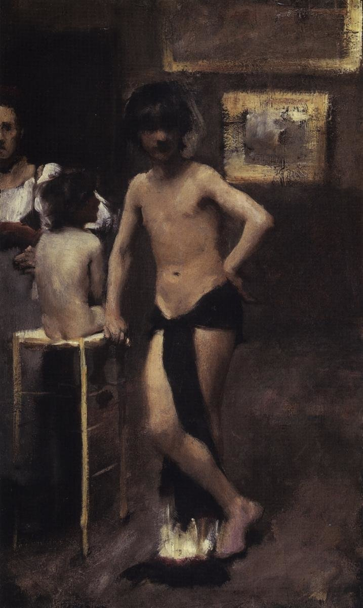 JOHN SINGER SARGENT TWO NUDE BOYS AND A WOMAN IN A STUDIO INTERIOR, 1878-79