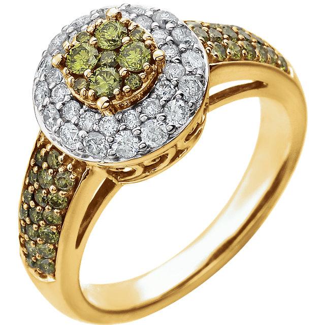 14K Yellow 1 1/8 CTW Diamond Engagement Ring