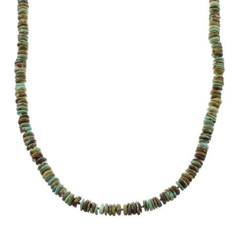 Kingman Turquoise Navajo Indian Sterling Silver Bead Necklace