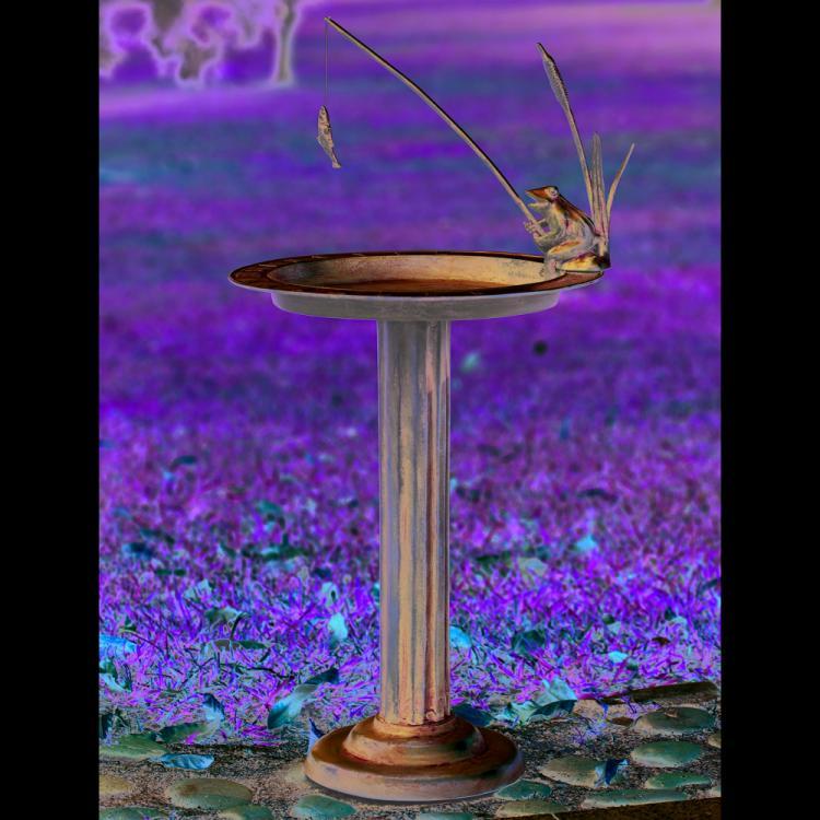 Fishing Frog Sundial / Birdbath