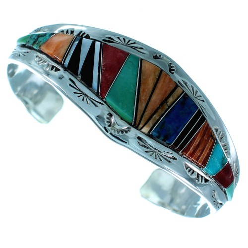American Indian Sterling Silver Multicolor Navajo Jewelry Cuff Bracelet
