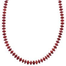 Native American Coral And Sterling Silver Bead Necklace