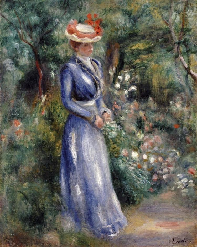 PIERRE-AUGUSTE RENOIR - WOMAN IN A BLUE DRESS