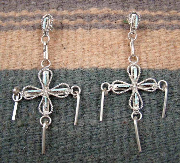 Lg Zuni Opal Needlepoint Cross Dangler W/spoons Earrings