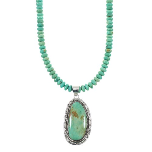 Genuine Sterling Silver Kingman Turquoise Native American Bead Necklace Set