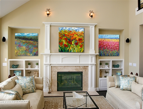 Contemporary Floral Set Of 3 Canvas By Jeff Boutin. (3-30x30 Gallery Wrapped Giclee Canvas Images)