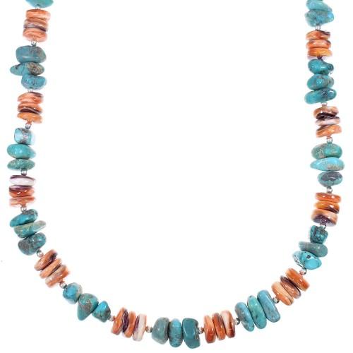 Multicolor Native American Genuine Sterling Silver Bead Necklace