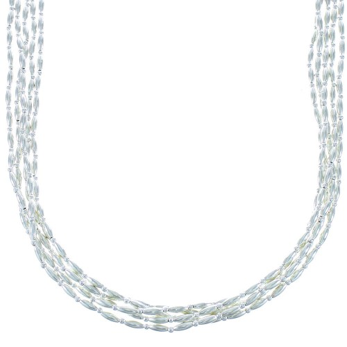 Genuine Sterling Silver 5-Strand Native American Bead Necklace