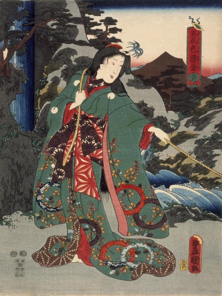 UTAGAWA KUNISADA (TOYOKUNI III) - COSTUMES IN FIVE DIFFERENT COLORS - GREEN (AO)