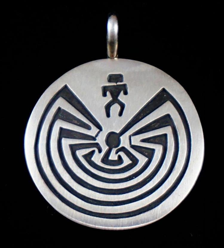 Navajo Man In The Maze Silver Overlay Pendants By S.gene