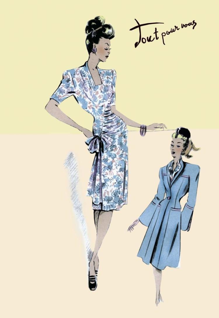 UNKNOWN - FLOWER DRESS WITH JACKET, 1947