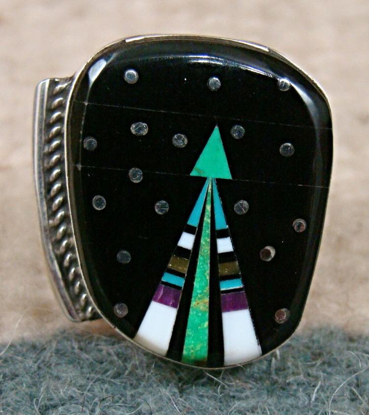 Lg Navajo Multi Stone Father Sky Shooting Arrow Ring by M.Jack Sz 8 1/4