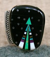 Lg Navajo Multi Stone Father Sky Shooting Arrow Ring by M.Jack Sz 8 1/4