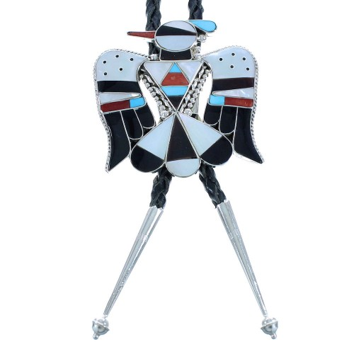 Multicolor Inlay Zuni Thunderbird Authentic Sterling Silver Bolo Tie