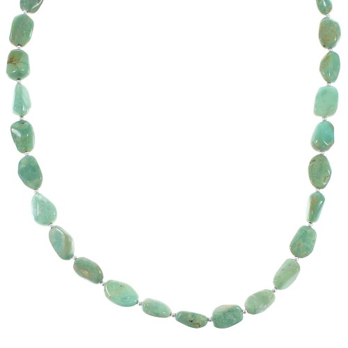 Navajo Genuine Sterling Silver Jewelry Turquoise Bead Necklace
