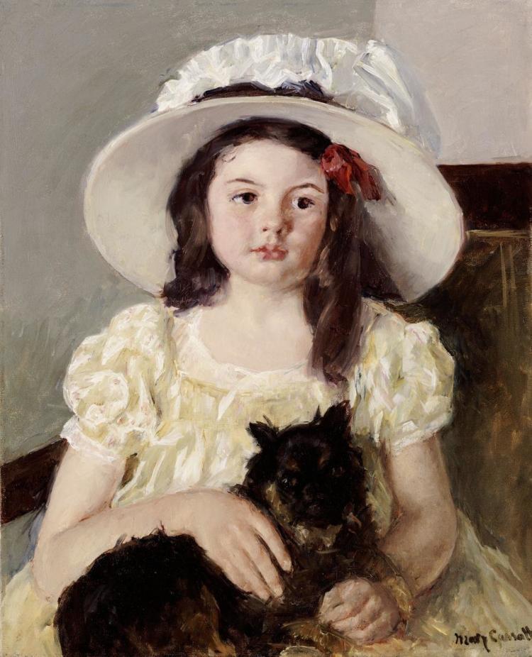 MARY CASSATT - FRANCOISE HOLDING A LITTLE BLACK DOG
