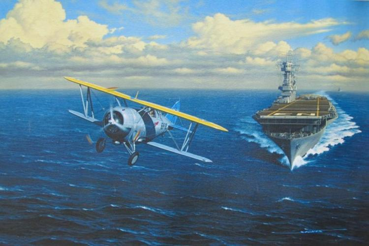 Stan Stokes The Last Navy Biplane Fighter Facsimile Signed Giclee On Canvas