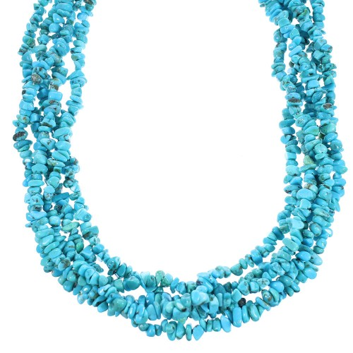 Navajo Turquoise Authentic Sterling Silver 5-Strand Bead Necklace