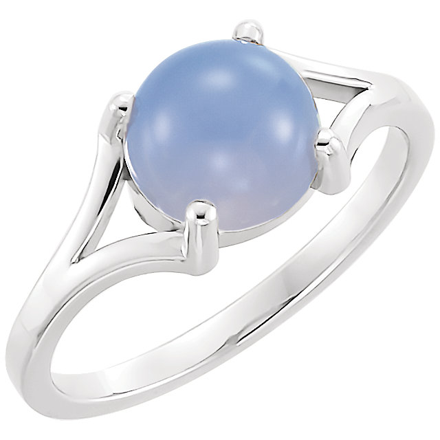 14K White 8mm Round Blue Chalecedony Cabochon Ring