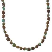 Navajo Indian Sterling Silver And Kingman Turquoise Bead Necklace