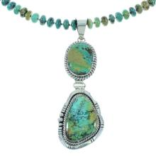 Turquoise Genuine Sterling Silver Navajo Bead Necklace Set