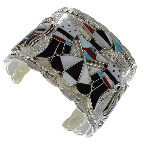 Multicolor Zuni Sterling Silver Thunderbird Cuff Bracelet