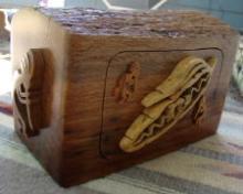 Lg Solid Oak Kokopelli Prayer Feather Theme Jewelry Box