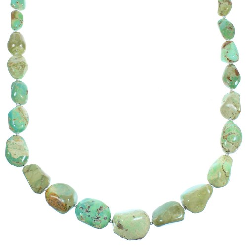 Authentic Sterling Silver Native American Turquoise Bead Necklace
