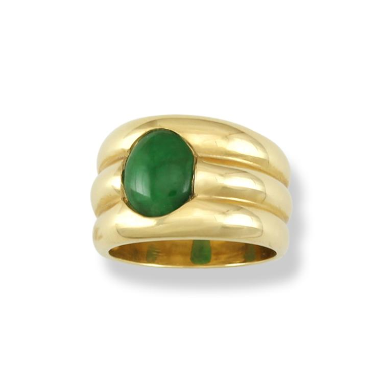 Untreated Green Jadeite Jade Ring