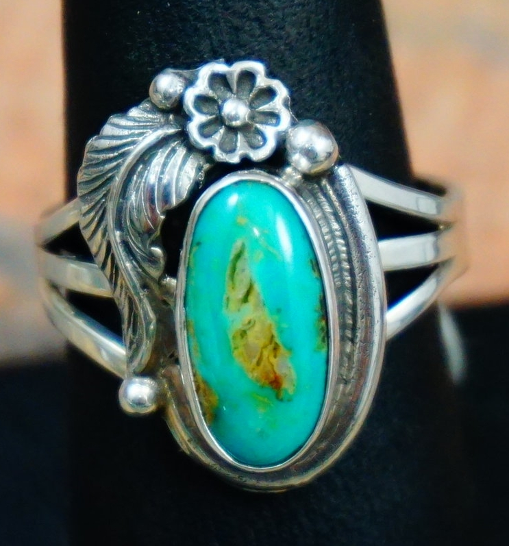 Navajo Pilot Mountain Turquoise Feather Flower Rings By Roie Jaque Sz 6 1/4 And 9 1/4