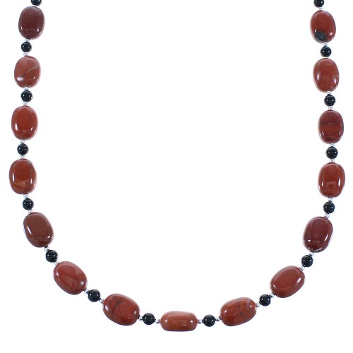 Jasper And Onyx Sterling Silver Navajo Bead Necklace