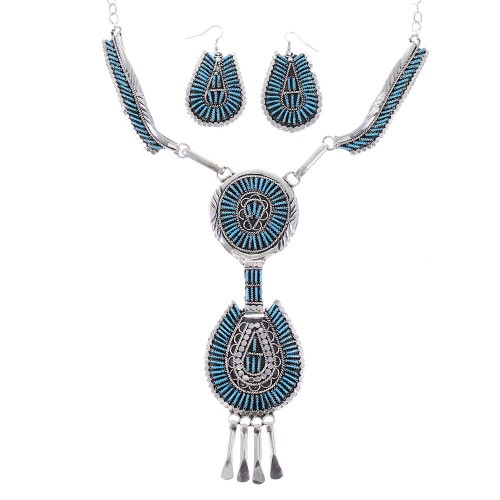 Turquoise Needlepoint Sterling Silver Navajo Link Necklace Earrings Set