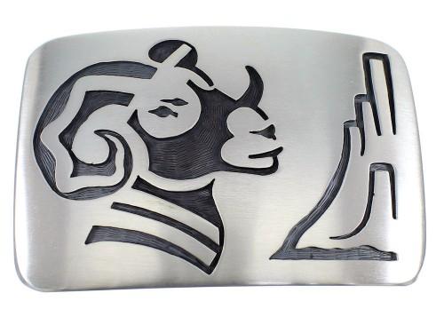 Native American George Phillips Silver Ram Belt Buckle