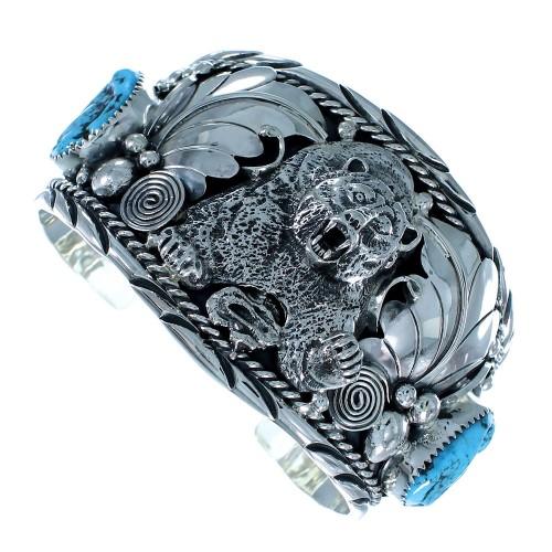 Turquoise Genuine Sterling Silver Bear Navajo Cuff Bracelet