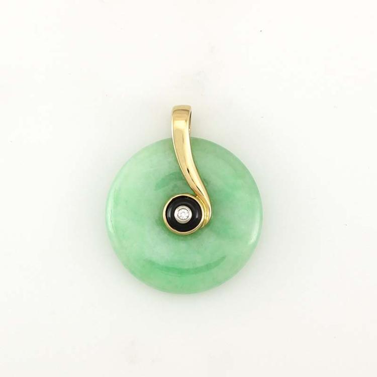 Untreated Green Jadeite Jade Pendant