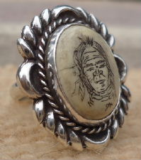 Lg Solid Navajo Etched Indian Scrimshaw Ring Sz 6