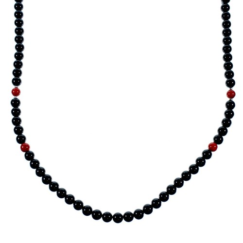 Onyx Coral Sterling Silver American Indian Bead Necklace