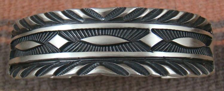 Xlg Heavy Wide Navajo Decorative Deep Stamped Silver Cuff Bracelet By J.tahe