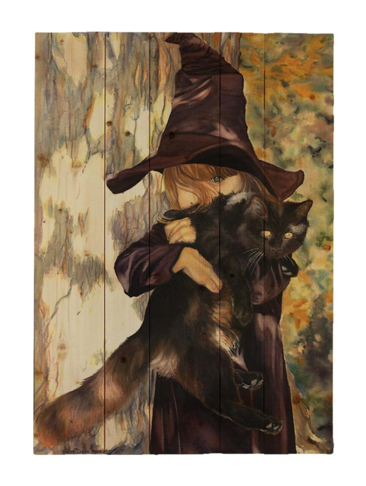 Bewitched - Halloween By Wesley Dallas Merrit Painting Print On Decorative Wood Wall Décor