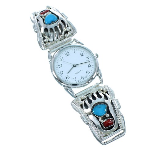 Turquoise And Coral Native American Sterling Silver Bear Paw Watch