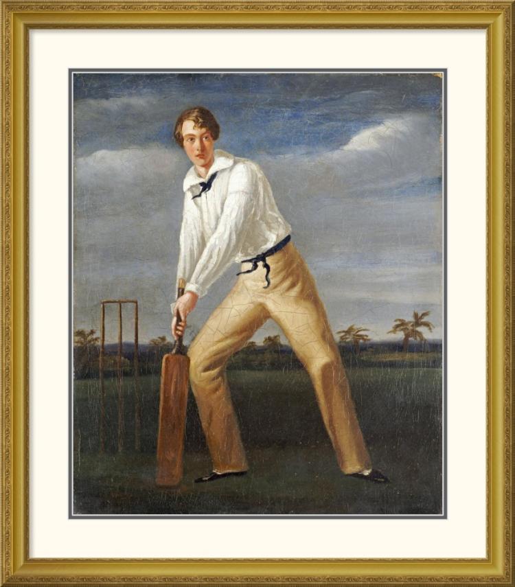 English School - A Cricketer at The Crease