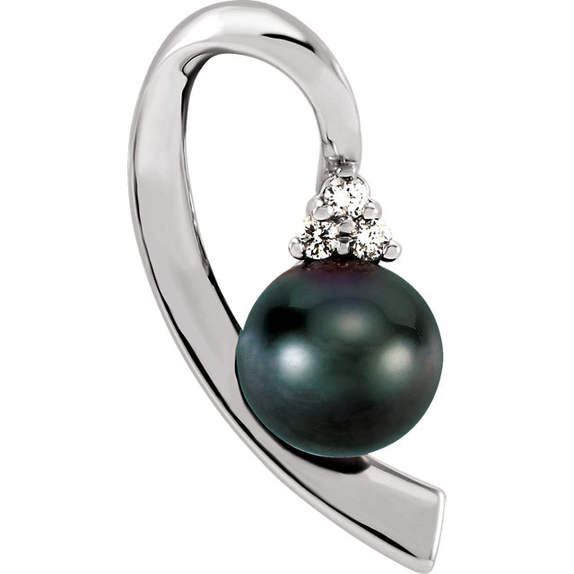 14K White Black Akoya Cultured Pearl & .07 CTW Diamond Pendant