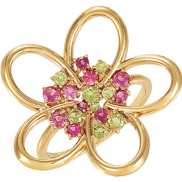 14K Yellow Peridot & Pink Tourmaline Floral-Inspired Ring