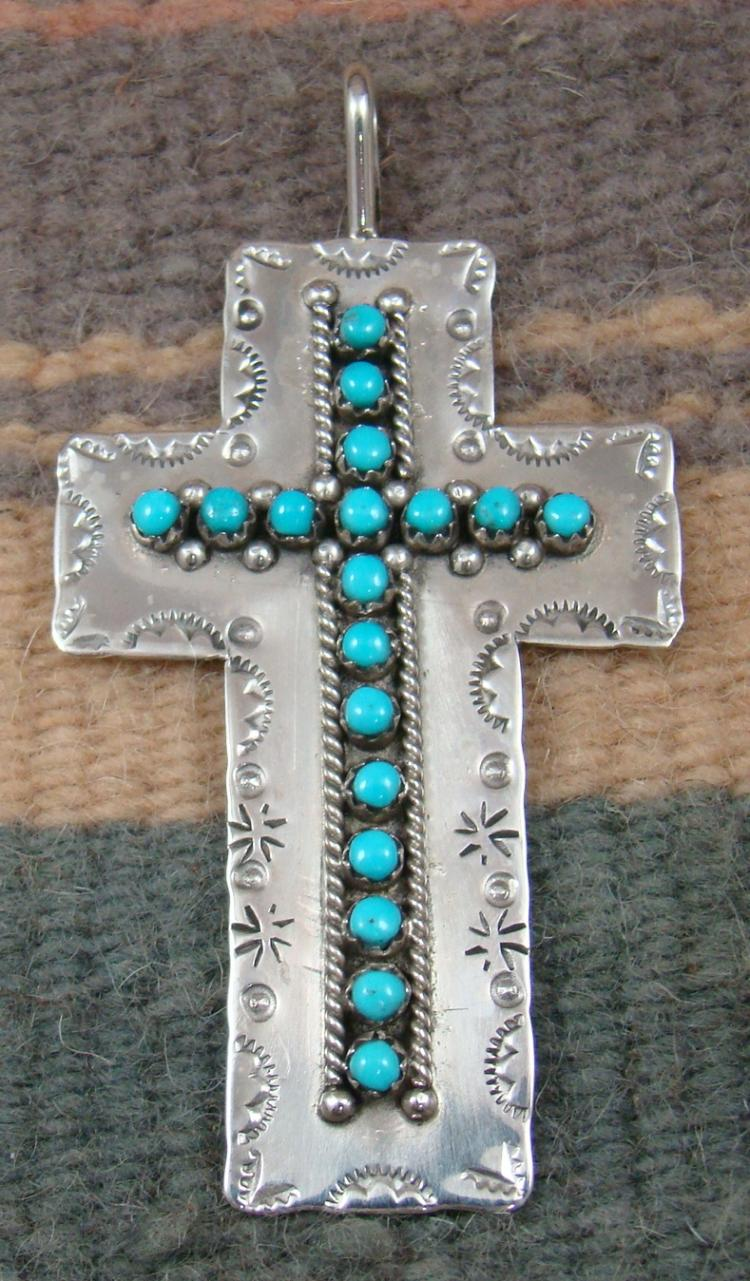 Lg Zuni 18pc Turquoise Snake Eye Decorated Cross Pendant By P.ukestine