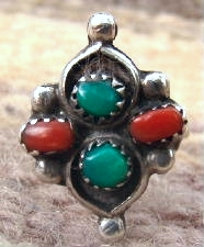 Vintage Zuni Double Turquoise Double Coral Ring