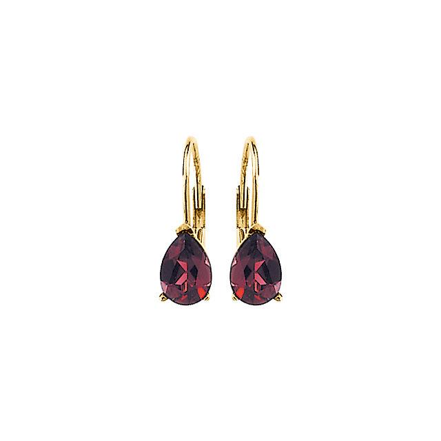 14K Yellow Rhodolite Garnet V-End Lever Back Earrings