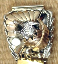 Mens Navajo Silver/gold Decorated Wolf Bust Watchbands By Running Bear