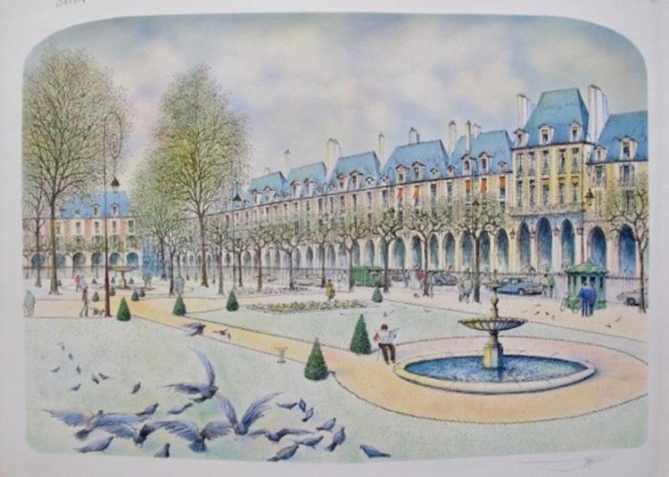 Rolf Rafflewski Paris Park Hand Signed Limited Edition Lithograph